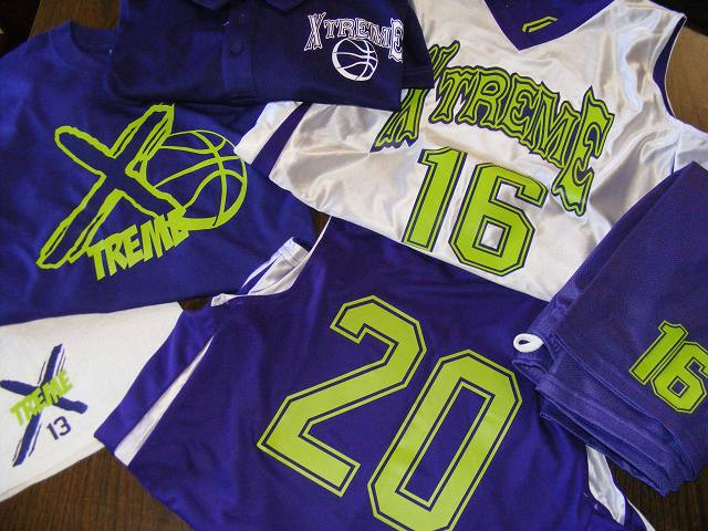 basketball, uniforms, sports, team, players, names, numbers,XTreme AAU Uniforms,clipart,lineart,line art,t-shirt,t-shrits,tee shrits,designs,silk,screen,teeshirts, screen-printing,embroidery,logo,mascot,These are reversible uniforms for an the Xtreme AAU Basketball team. We also got add on sales for parent spirit t-shirts and team hand towels! We also did a few window team decals! All with the Roland GX24.,GGs Embroidery,Hammond,LA,70401