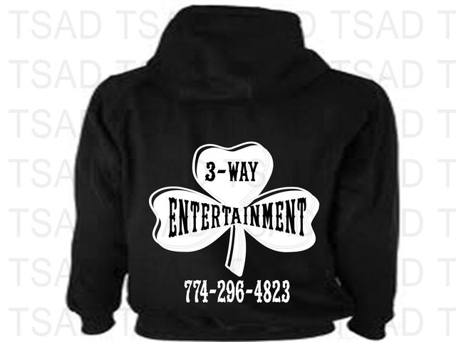 small business, glow in the dark, DJ, black hoody, ,3 Way Entertainment,clipart,lineart,line art,t-shirt,t-shrits,tee shrits,designs,silk,screen,teeshirts, screen-printing,embroidery,logo,mascot,Hoodie design for a repeat customer for their business. He's a DJ. We will be using glow in the dark material.  ,T-Shirts All Day,Worcester,MA,01609