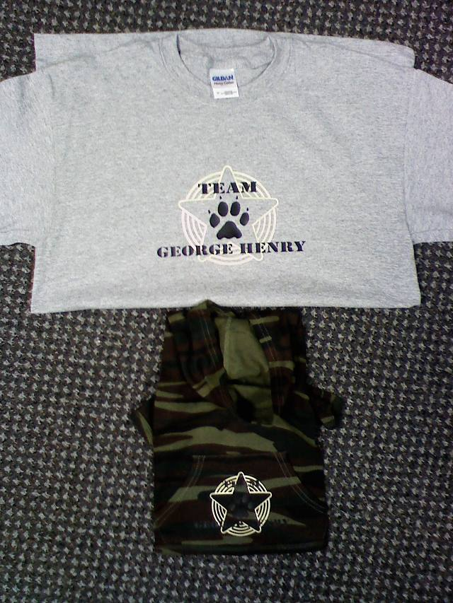 Stars, Paw Print, Team, Army, Fatigues, Military, Camouflage,Dog Walk Team Shirts,clipart,lineart,line art,t-shirt,t-shrits,tee shrits,designs,silk,screen,teeshirts, screen-printing,embroidery,logo,mascot,I created these shirts for my friend and the little camo one for her dog. Team George Henry, for the a human society fundraiser Dog Walk.,,Saint Clair Shores,MI,48081