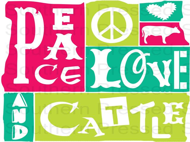 rodeo, peace, love and cattle, ,Peace Love and Cattle,clipart,lineart,line art,t-shirt,t-shrits,tee shrits,designs,silk,screen,teeshirts, screen-printing,embroidery,logo,mascot,Its Rodeo Time! 