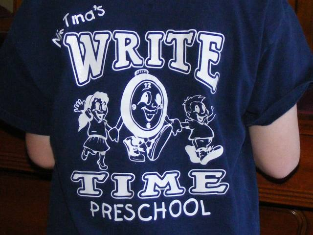 Preschool,Ms. Tina's Write Time Preschool,clipart,lineart,line art,t-shirt,t-shrits,tee shrits,designs,silk,screen,teeshirts, screen-printing,embroidery,logo,mascot,The kids loved their new shirts and Ms. Tina placed several orders for more shirts.,Groupe Stahl,Phoenix,AZ,56224